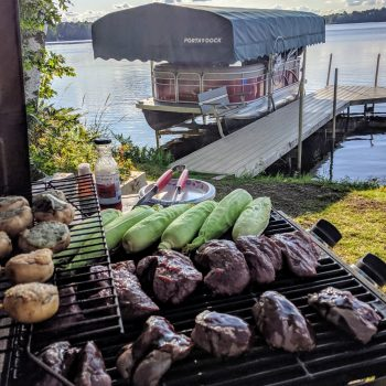 Grilling dinner down by the lake