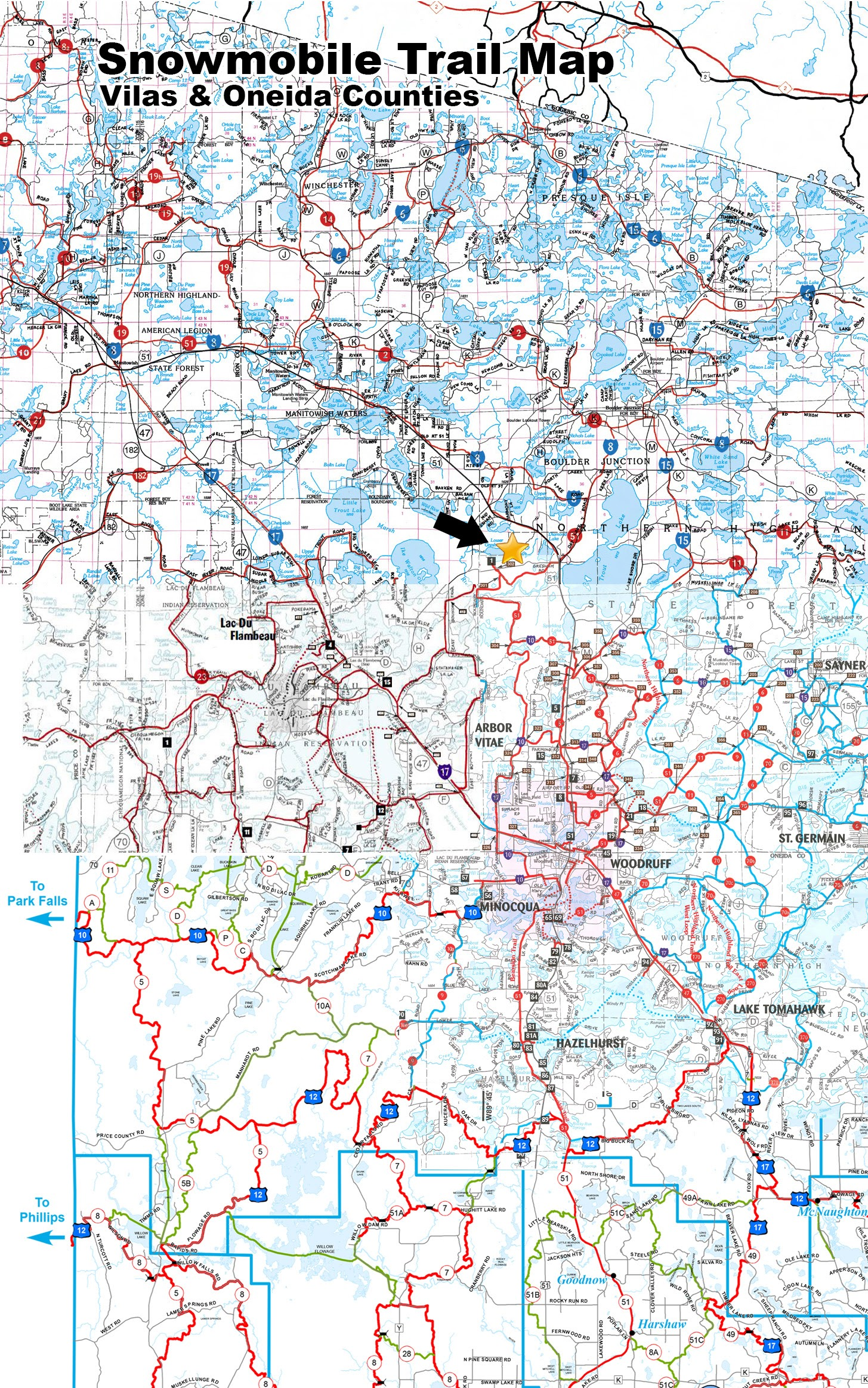 Vilas & Oneida county snowmobile maps